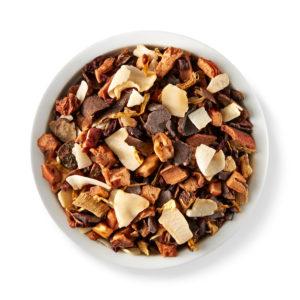 Chocolate-coated caramel, roasted almonds, carob and fleur de sel are blended together for Teavana's Caramel Truffle herbal tea.