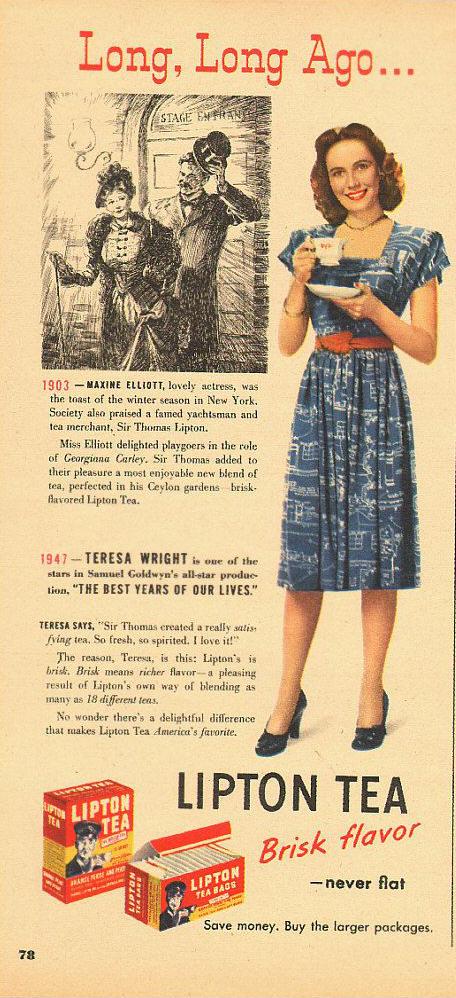 1940s Vintage Lipton Tea Advertisement
